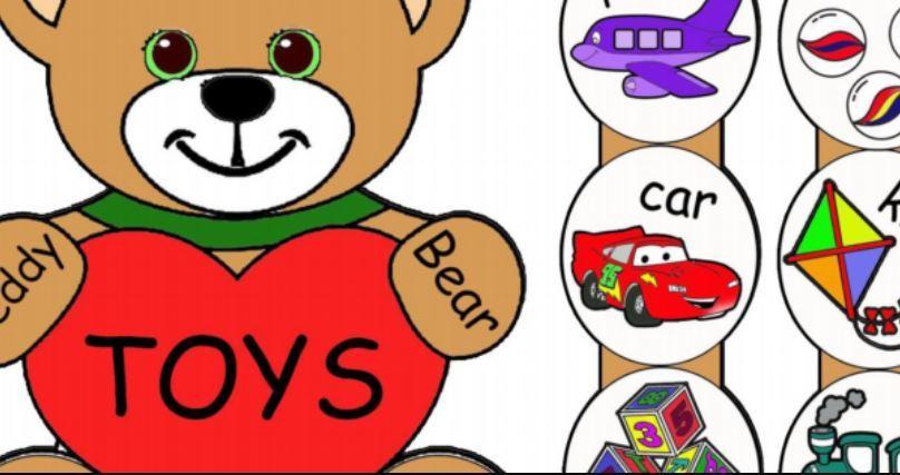おもちゃ英語工作プリントToys-paper-craft