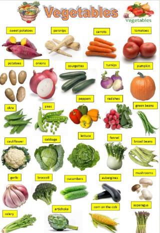 英語野菜の名前イラスト付きポスターVegetables-pictionary2