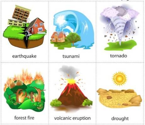 自然災害英語イラスト付きカードnatural-disasters-minicards