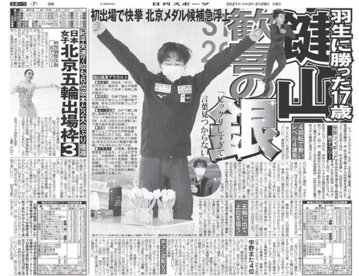 鍵山優真_世界選手権銀メダル2021_日刊スポーツ紙面