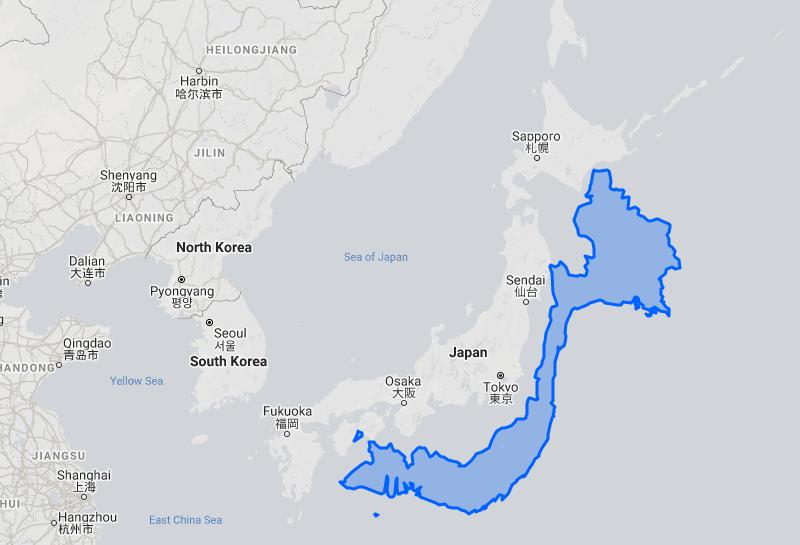 ベトナムと日本のサイズ比較