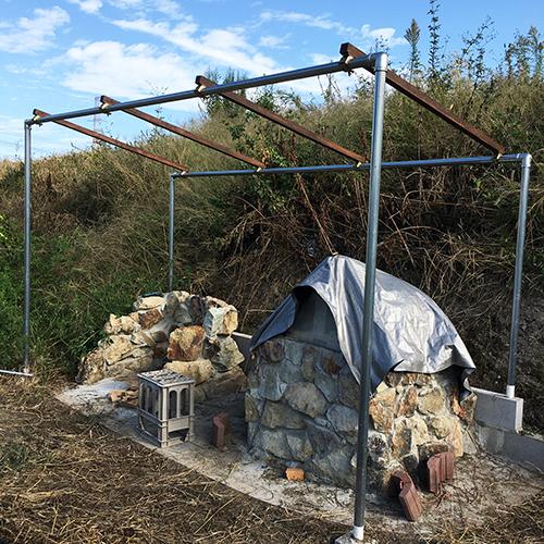 【DIY】畑にピザ窯とコンロを作る!⑥ ~ピザ窯には屋根が必要~③