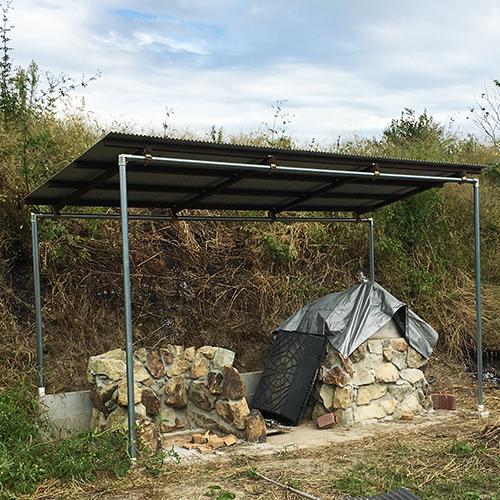 【DIY】畑にピザ窯とコンロを作る!⑥ ~ピザ窯には屋根が必要~⑧