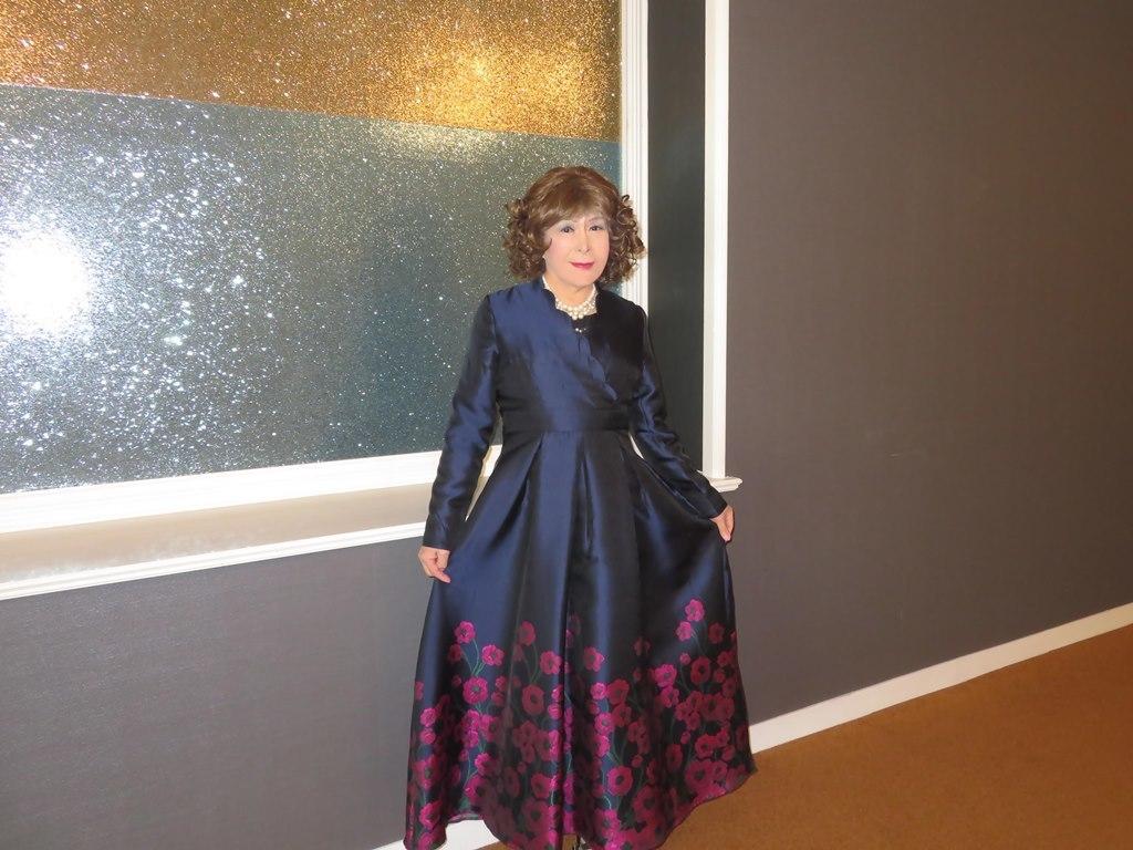 裾が花柄の濃紺ドレスA(5)