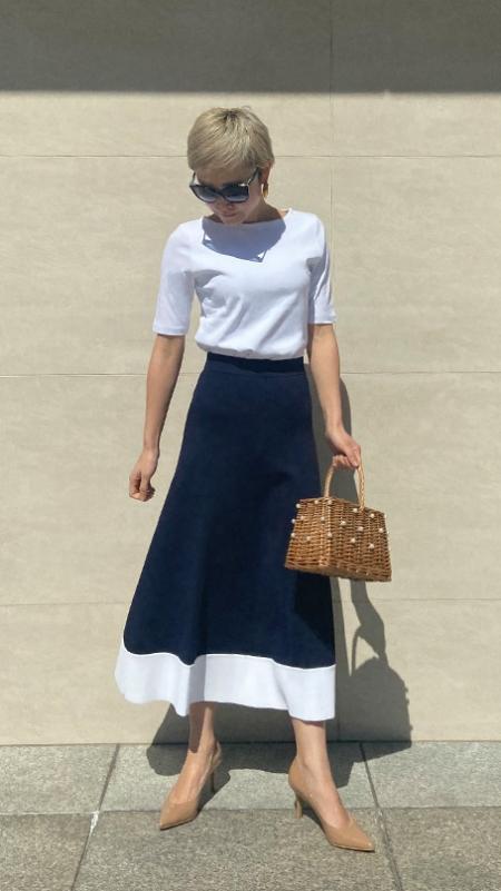 French配色フレアニットスカート