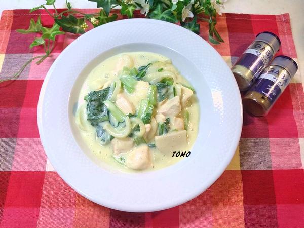 里芋と小松菜の豆乳クリーム煮