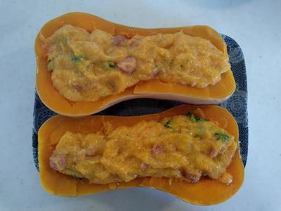 おからパウダーとカルボナーラの素でバターナッツかぼちゃのグラタン6