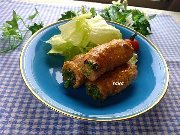 菜の花の豚肉巻き味噌生姜炒め