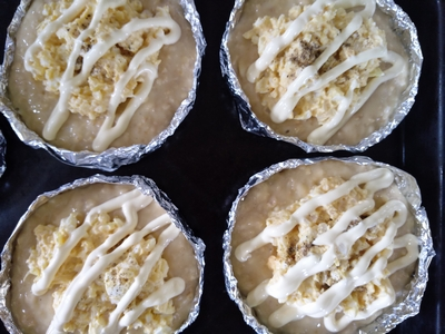 薄力粉とオートミールの卵サラダパン4