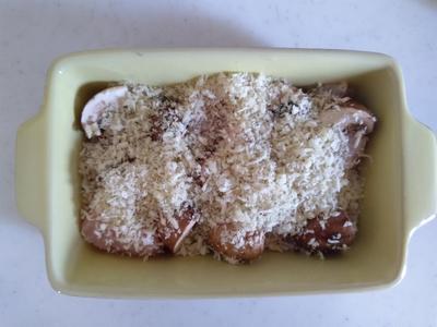 鶏むね肉とマッシュルームのパン粉焼き1