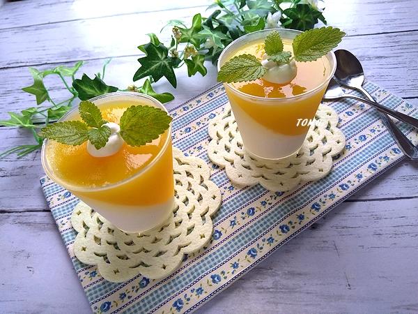オレンジとミルクの2色ゼリー