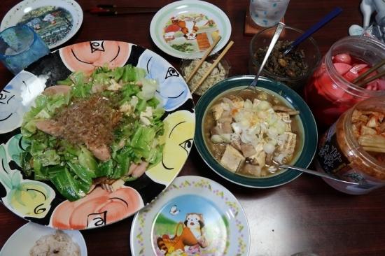 キャベツと魚肉ソーセージ、肉豆腐