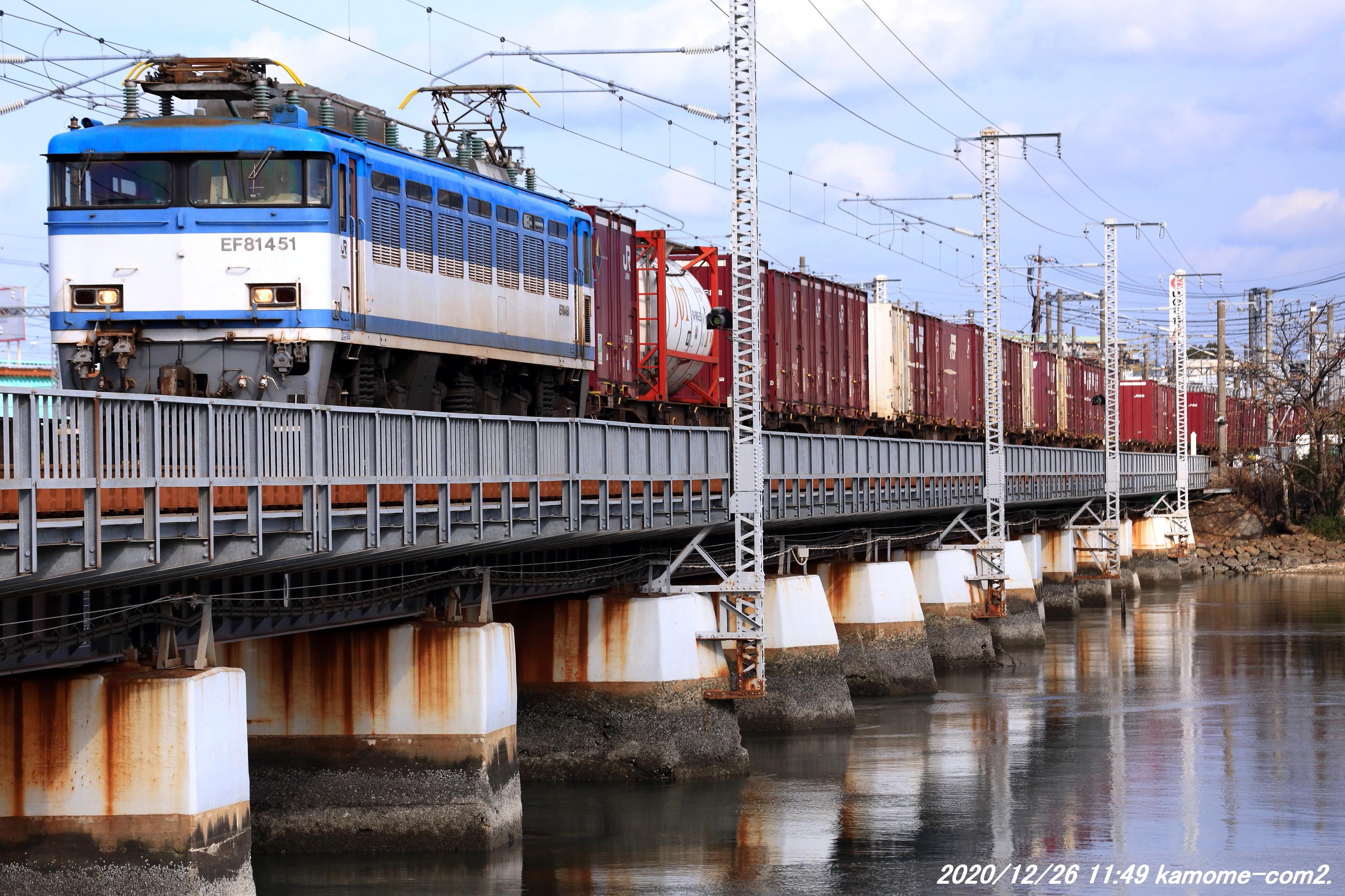 EF81-451号機牽引貨物@鹿児島本線・多々良川橋梁