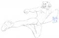 クガル飛び蹴りポーズ線画