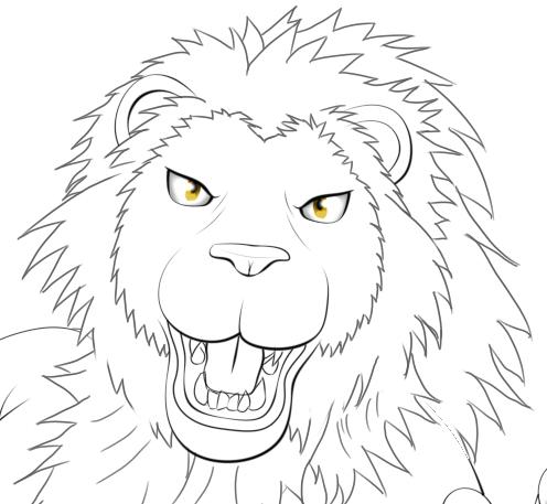 ライオン獣人とびかかり線画顔
