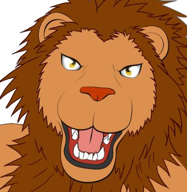 ライオン獣人とびかかりべた塗りkao