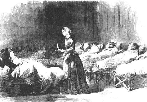 看護婦として戦傷兵を見舞うナイチンゲール(1855年)