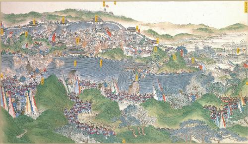 南京郊外で太平天国軍と戦う湘軍