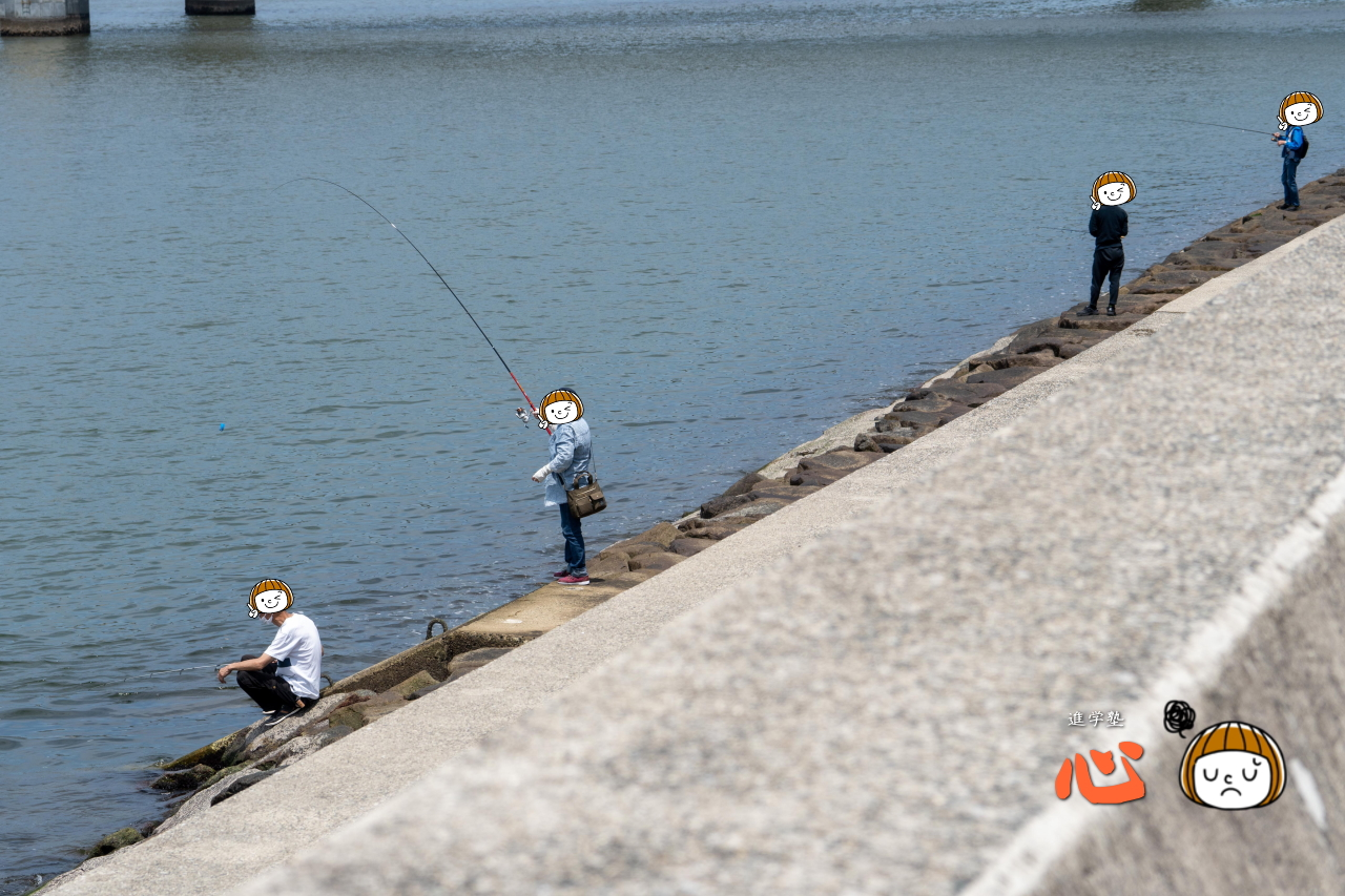 0621平日昼間に釣りに興じる人々