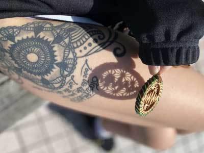 尾鷲ヒノキ mananaロゴ& 麻の葉文様 x bonobojapan ビスケットネックレス