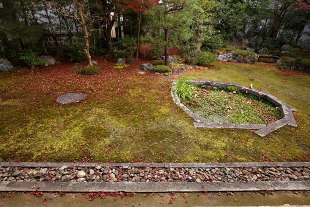 本法寺庭園・蓮池と日輪