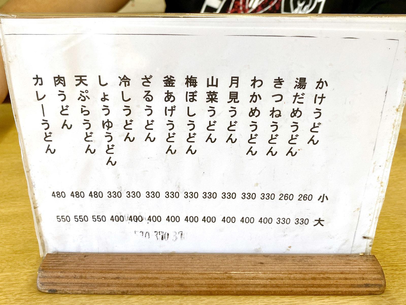 メニュー表