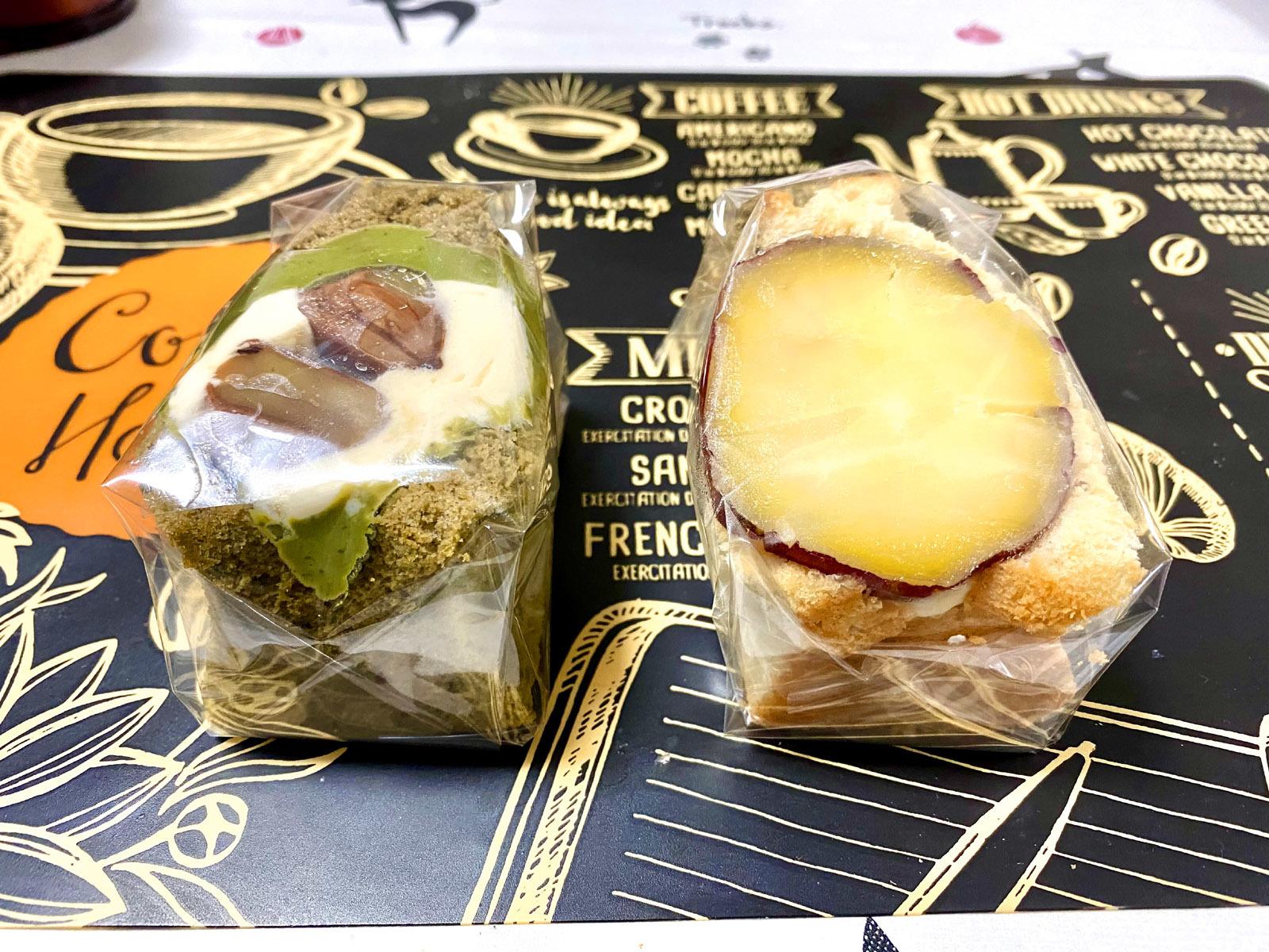 ant・ant 抹茶シフォンの栗サンド 291円(税込)、焼き芋シフォンのクリームサンド 291円(税込)