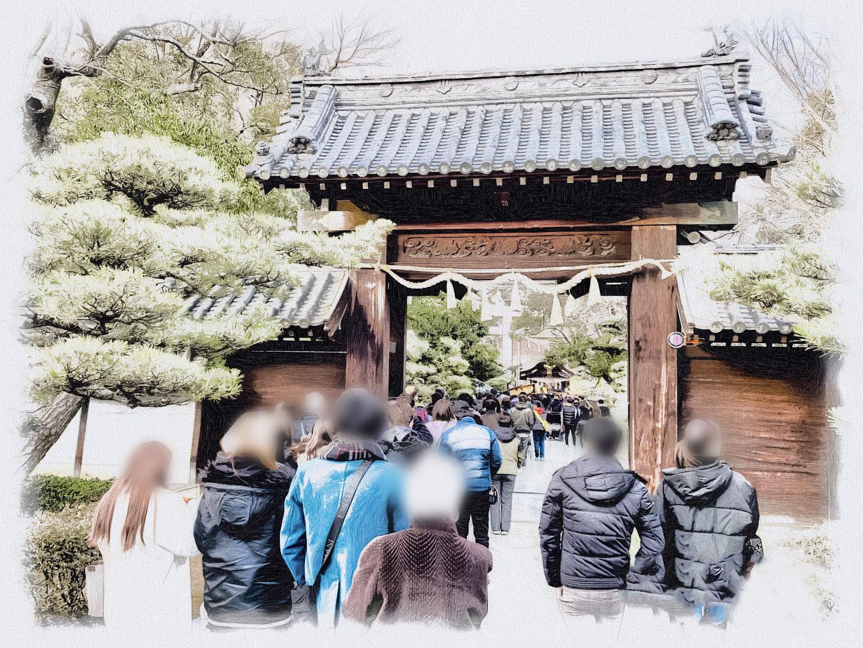 田村神社 門と行列