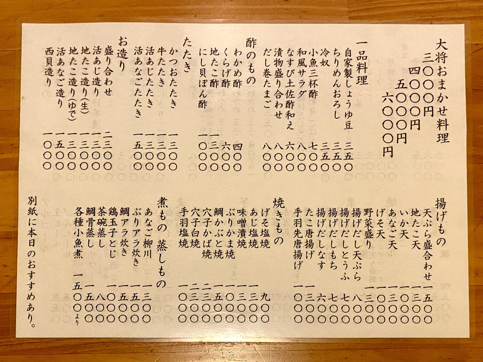 魚市場小松05 メニュー2 大将おまかせ&単品料理