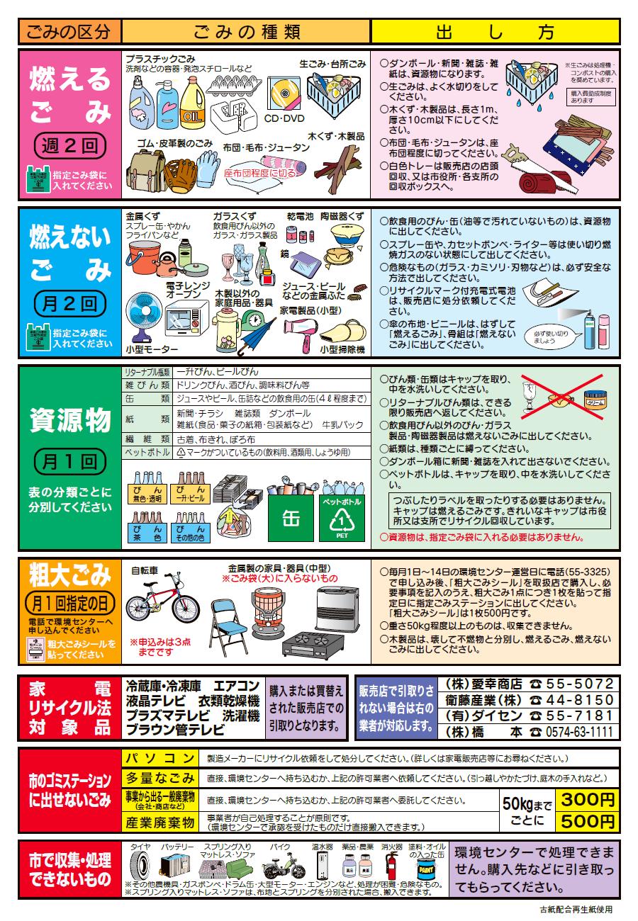 〈土岐津〉2021年度ゴミ収集カレンダー(B)