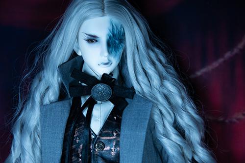 Ring doll、杉苔の空さんにメイクして頂いた、ゾンビヘッド・KaneのKarma。眼帯が壊れてしまったので、醜く潰れた顔面半分を晒して。