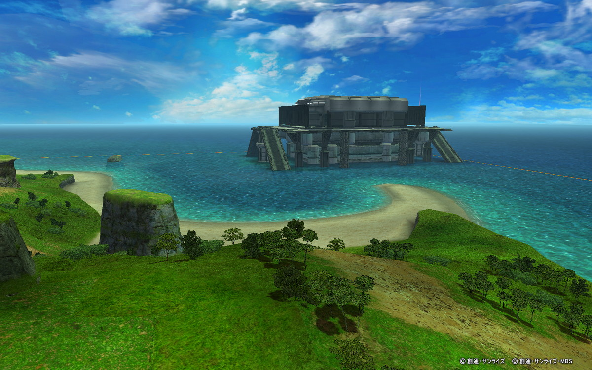 基本プレイ無料の100人同時対戦が楽しめるオンラインゲーム、機動戦士ガンダムオンライン、大規模戦フィールド「ククルス・ドアンの島-戦いの匂い-」のリニューアルを実施したよ