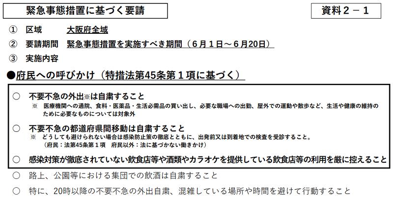 緊急事態宣言延長に伴い大阪府の措置