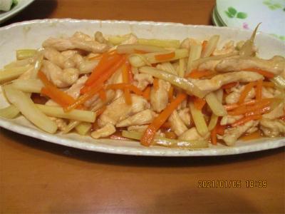 210106鶏胸肉とセロリの炒めもの