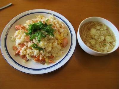 210129鮭チャーハンともやしスープ