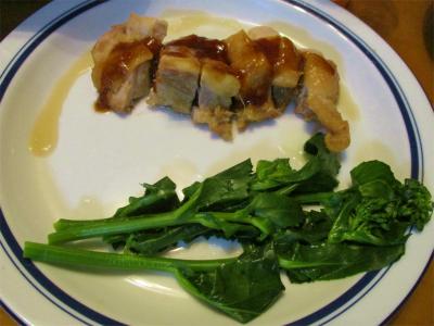 210313鶏モモの照り焼き、のらぼう菜