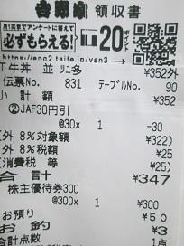 吉野家牛丼レシート2021.2