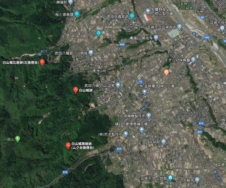 白山城周辺図 Google